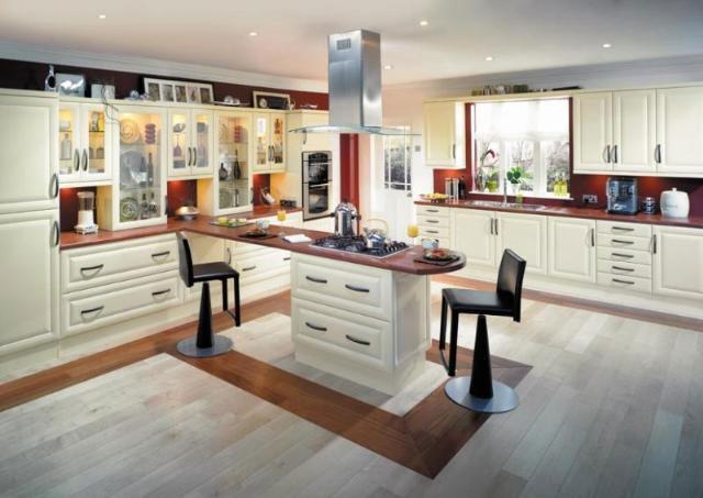 Modern kitchen design with wooden floor bar chairs modern white cream